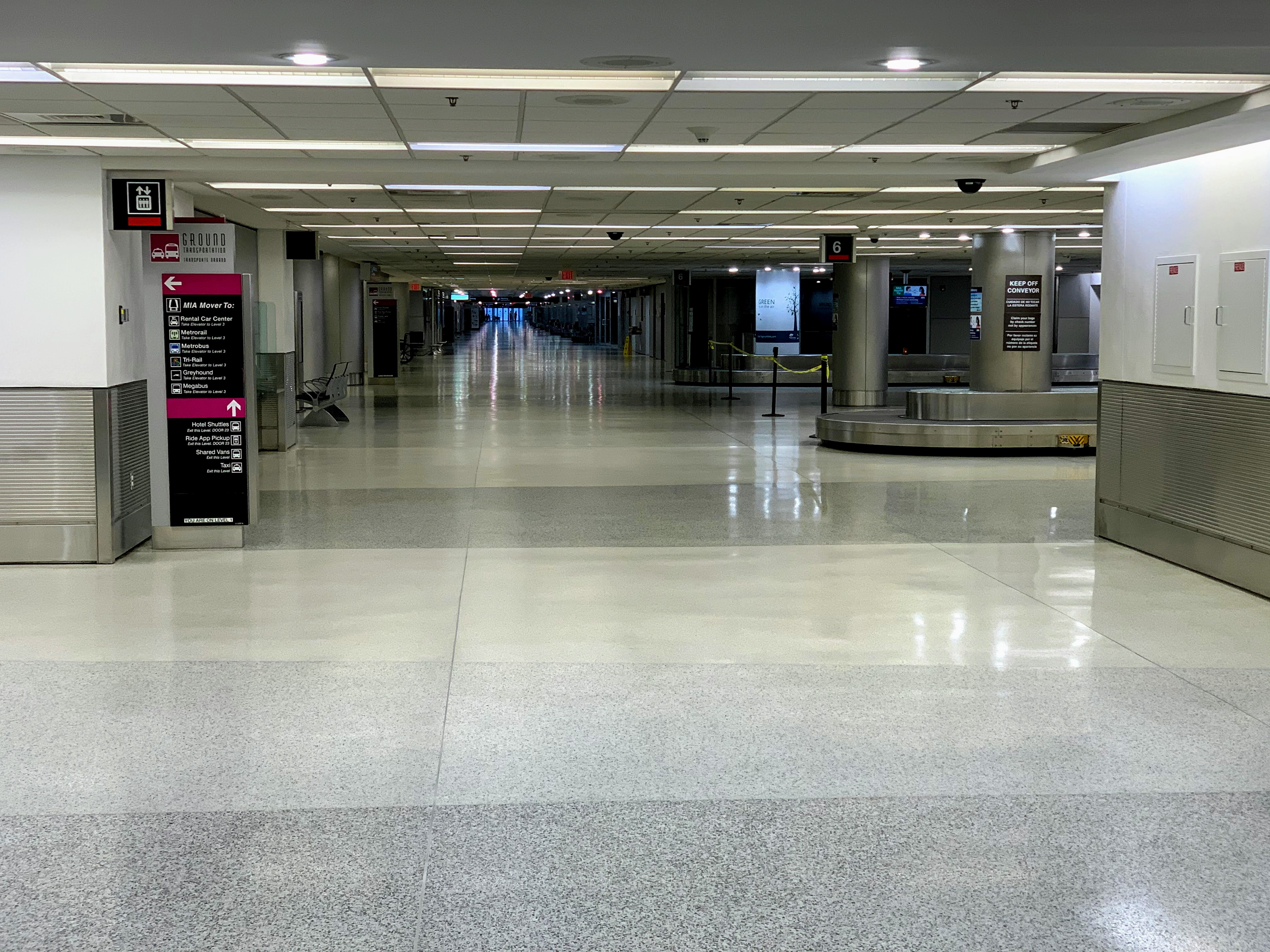 The airport has large areas that are not functioning
