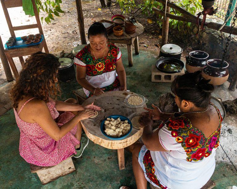 mayan style handmade corn tortilla