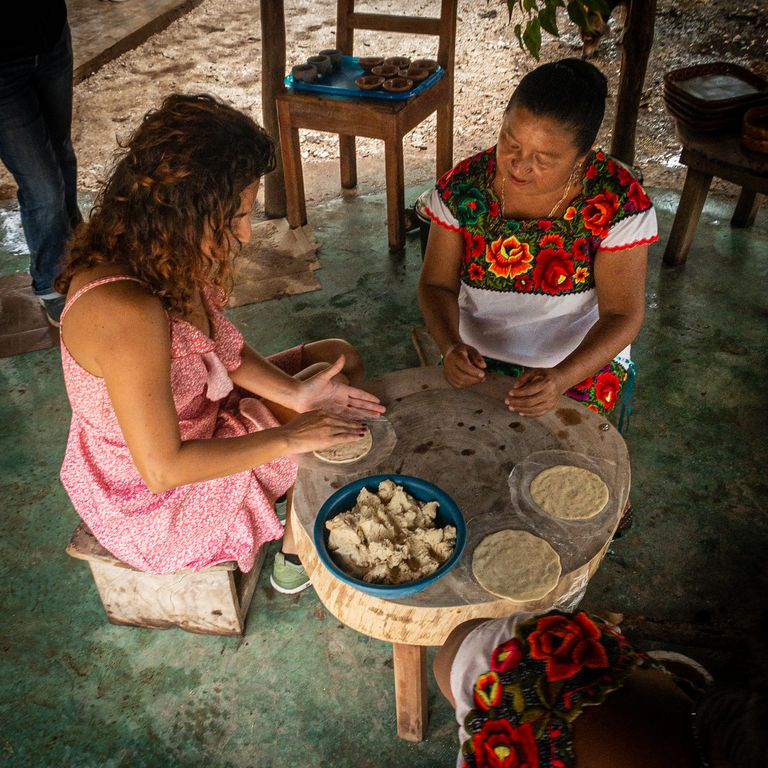 traditional mayan style handmade corn tortillas
