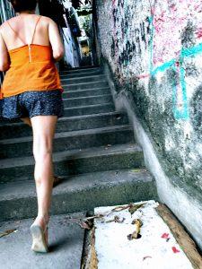 rio de janeiro neighbourhood, stairs to favela