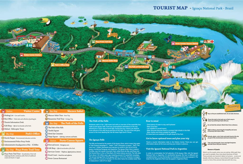 waterfalls of foz do Iguaçu - map